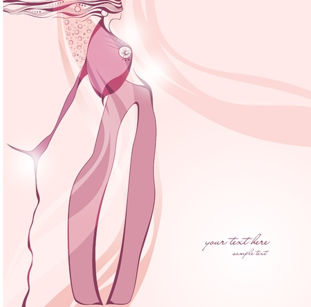 Fashionable pink background with abstract girl.  Vector