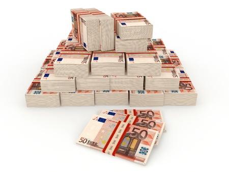 billets euro: Des liasses de billets. ? 50 Banque d'images