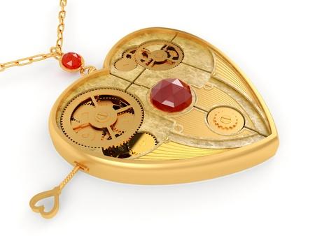 Mechanical heart. Jewelry  Stock Photo