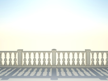 Balustrade with pillar on sky background  photo