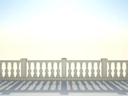 banister: Balustrade with pillar on sky background