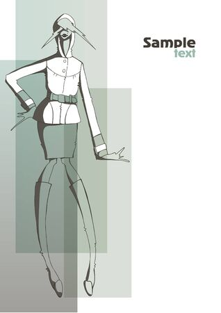 squeak: Fashion girl in the coat  Place for your text illustration