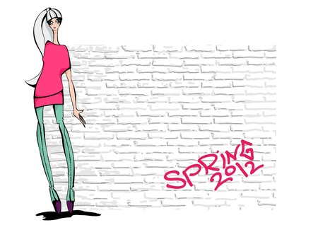 hip hop girl: Hip hop girl  Fashion illustration  Place for your text