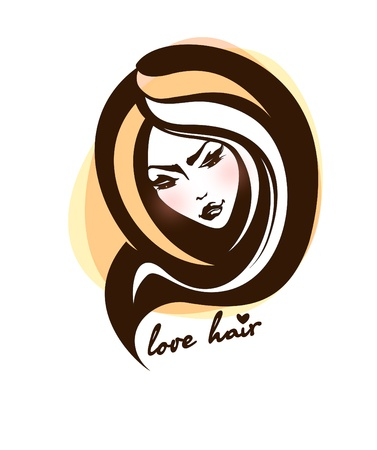 Stylish face of woman with long hair   Vector