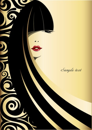 Fashion vector of beautiful woman on a gold background  Illustration