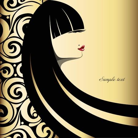Wektor Fashion pięknej kobiety na tle złota