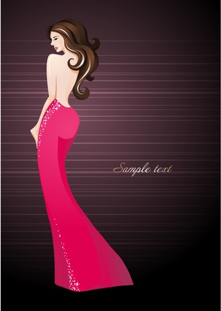 busty: Sexy girl in an elegant dress_Fashion illustration