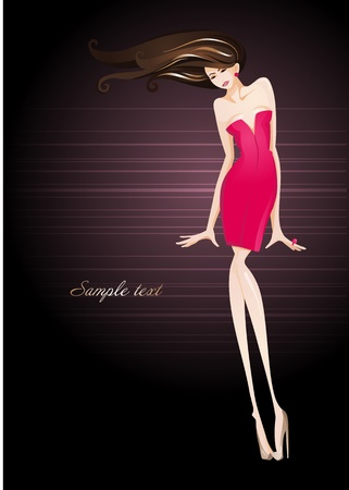 red hair beauty: Sexy girl in an elegant dress_Fashion illustration