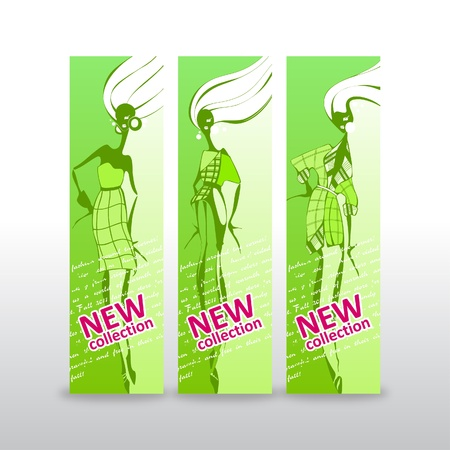 Fashion girls _Banners with place for your text Stock Vector - 12855090