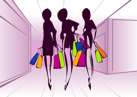 shopaholics: Shopping girls _Vector illustration