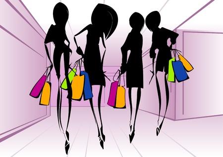 shopping center: Shopping girls _Vector illustration