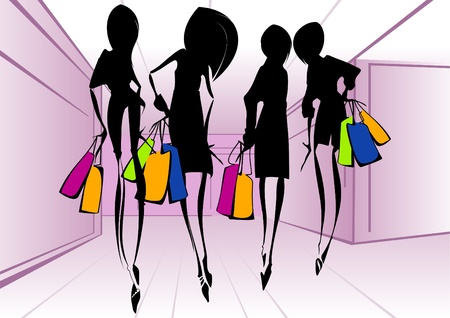 shopping center interior: Shopping girls _Vector illustration