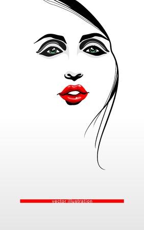Woman face_ Vector illustration_Conceptual design  Vector