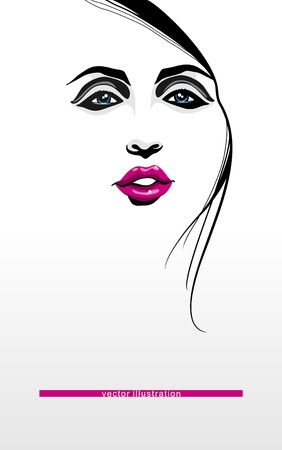 head and shoulders: Woman fashion illustration
