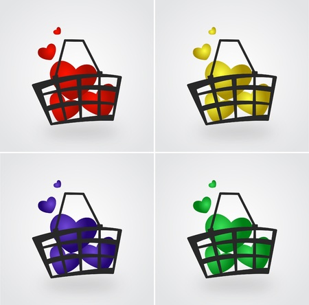 Set of market basket filled with hearts illustration Vector