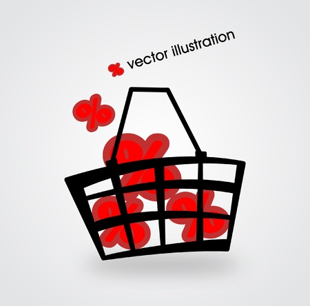 Market basket filled with red percents illustration Vector