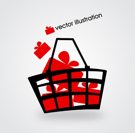 gift basket: Market basket filled with red boxes with gifts illustration