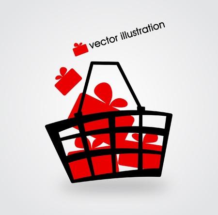 giftbasket: Markt mand gevuld met rode dozen met geschenken illustratie Stock Illustratie