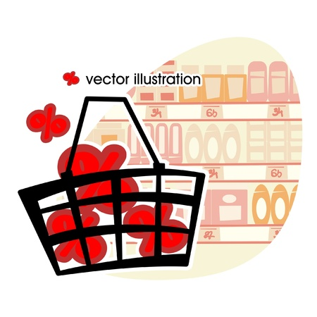 Market basket with red percents illustration  Vector