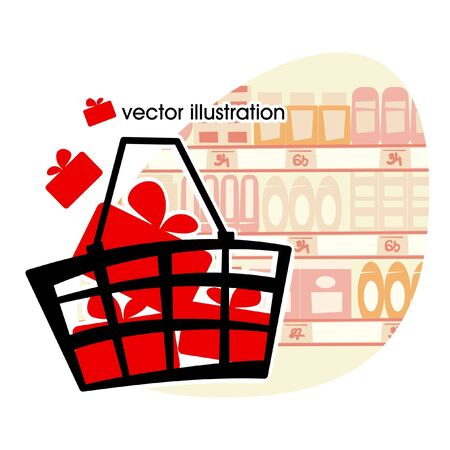 Market basket with red boxes with gifts illustration Vector