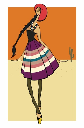 Latin Fashion Girl stylish dressed_ Vector illustration Stock Vector - 13090334