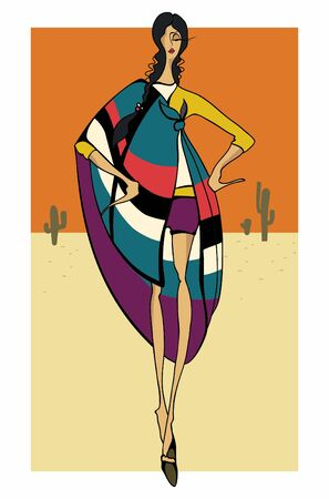 vector girl: Latin Fashion Girl stylish dressed_ Vector illustration  Illustration