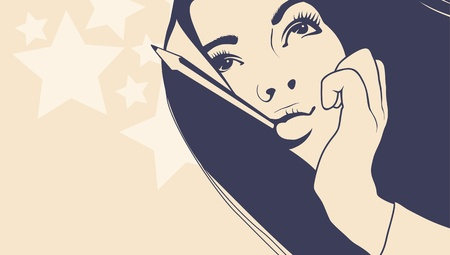 tattoo girl: Face_ nice girl ilustraci�n vectorial Vectores