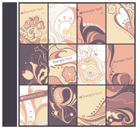 Set of hand drawn cards with fantasy flowers   Vector