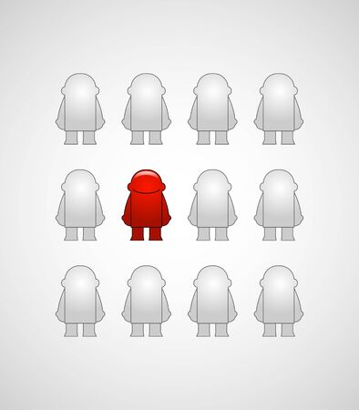 allocated: The leader of a team allocated with red coloured among the gray men_Vector illustration  Illustration