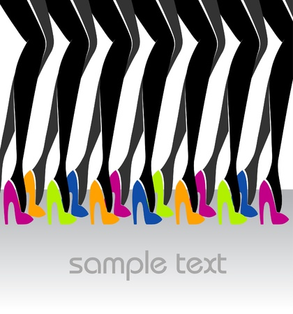 A lot of beautiful female legs in colorful shoes_ Fashion illustration
