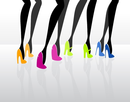 stilettos: Women wearing elegant high heels_Vector illustration  Illustration