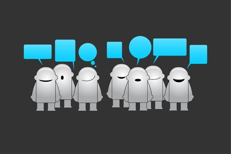 noticeable: Happy group of funny man with speech bubbles illustration Illustration
