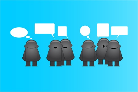 Group of funny man with speech bubbles illustration Stock Vector - 13157193