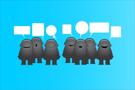 Group of funny man with speech bubbles illustration