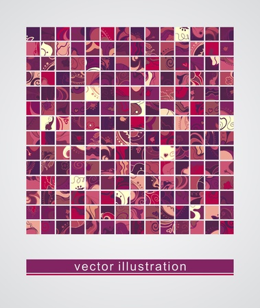 Background with a group of cards with fantasy flowers_Vector Icons  Vector