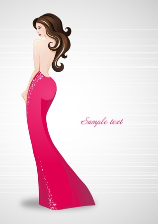 Beautiful sexy woman in red dress_Place for your text Stock Vector - 13365918