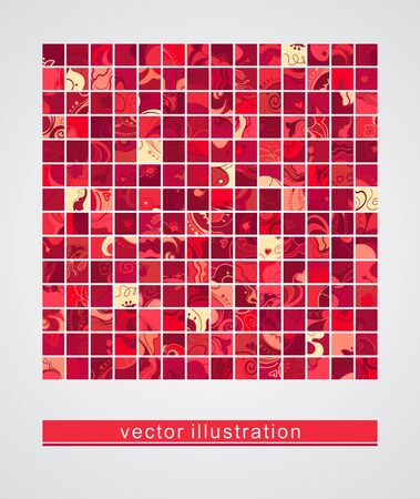 burgundy colour: Background with a group of floral illustrations Icons