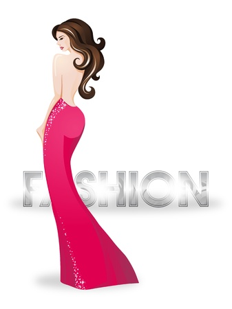 Fashion girl wearing a red dress illustration Place for your text