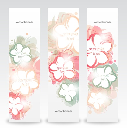 Set of the floral abstract banners   Vector