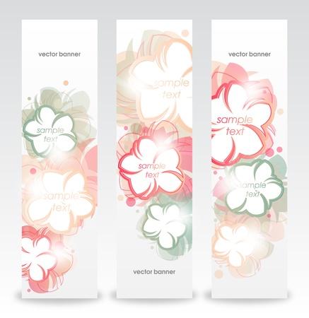 Zestaw z kwiatów banery abstrakcyjnych