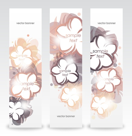 Romantic template design with flowers_ Vertical banner  Vector