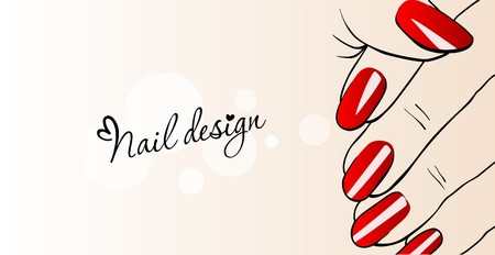 finger nails: Beautiful female hands with red nails_Nail Design  Illustration