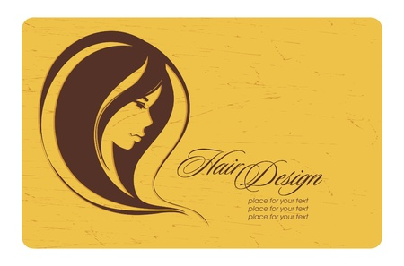 hair dresser: Vintage girl with long hair_Place for your text_Vector illustration