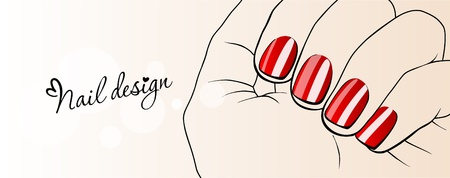 manicure pink: Beautiful female hands with red nails_Nail Design  Illustration