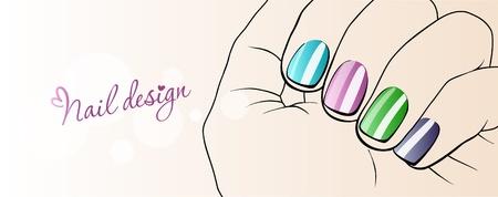 manicure pink: Fashion Nails_Illustration of nail design