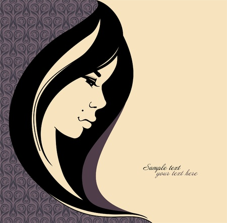 glam: Retrato de una ni�a preciosa, con hair_Place largo y negro para su ilustraci�n text_Vector