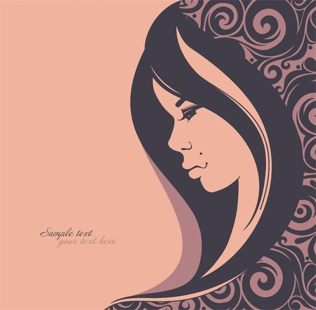human face: Stylish face of woman with beautiful hair_Fashion illustration