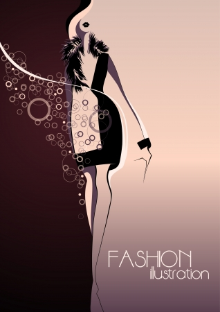 Abstract silhouette of a girl in fashion background Place for your text Vector illustration