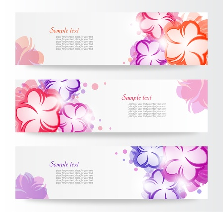 Set Of Floral Header_Vector Illustration