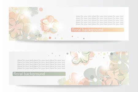 Vector beautiful horizontal floral banners  Stock Vector - 13969372